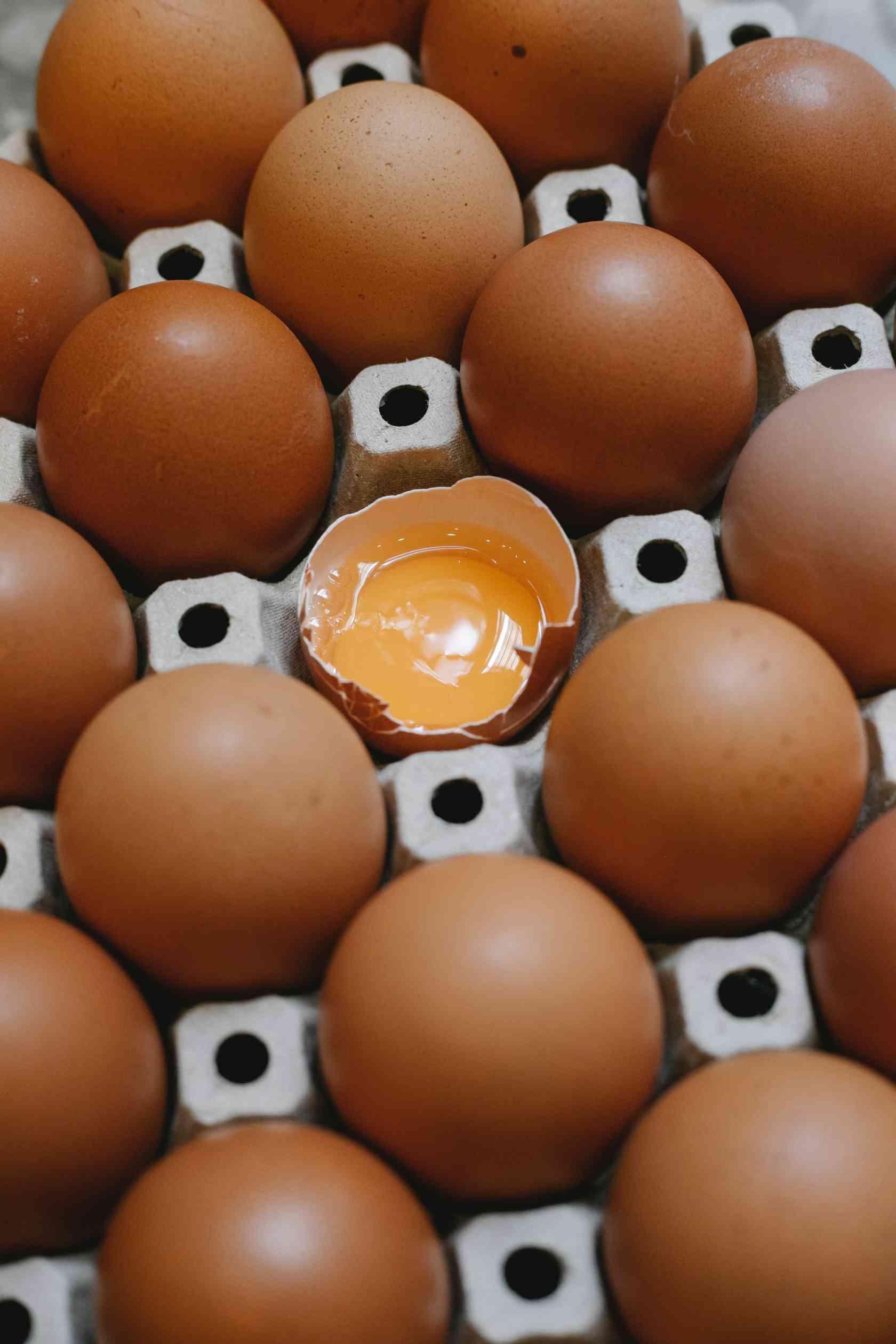 Yellow yoke of a brown eggs